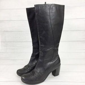 Dansko 41 Tall Heeled Boots Black Leather